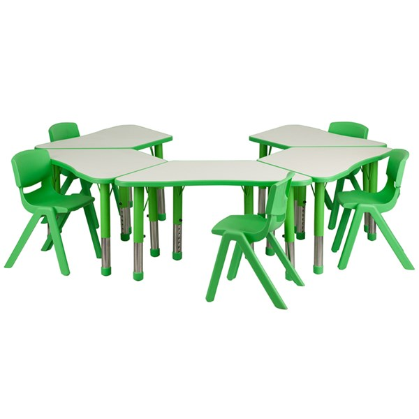 Green Trapezoid Plastic Activity Table Configuration w/5 School Chairs FLF-YU-YCY-091-0035-TRAP-GRN-S5
