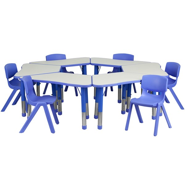 Trapezoid Plastic Activity Table Configuration w/6 School Stack Chairs FLF-YU-YCY-091-0036-TRAP-TBL-GG-KTCH-VAR