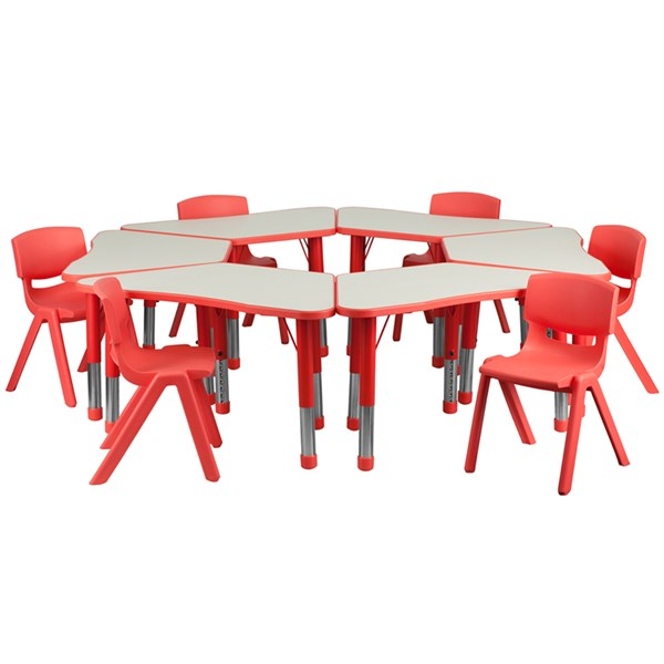 Red Trapezoid Plastic Activity Table Configuration w/6 School Chairs FLF-YU-YCY-091-0036-TRAP-RED-S6