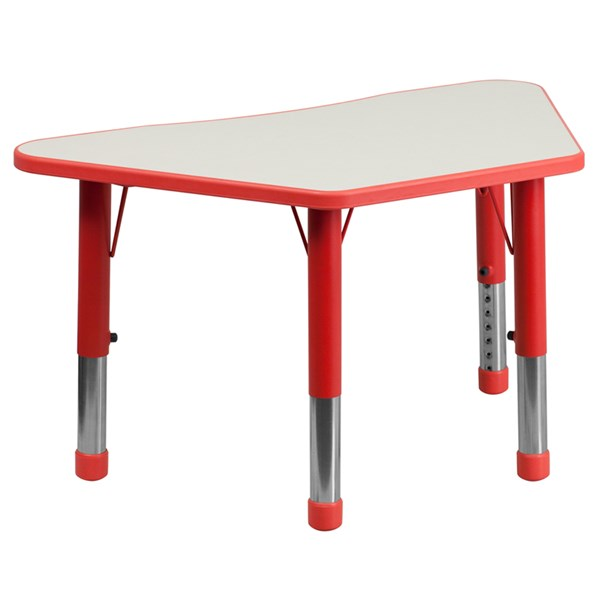 21 x 37.75 Trapezoid Red Plastic Activity Table w/Grey Top FLF-YU-YCY-091-TRAP-TBL-RED-GG