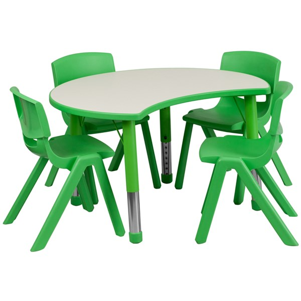 25.125 x 35.5 Green Plastic 5pc Activity Table Set w/4 School Chairs FLF-YU-YCY-093-0034-CIR-GRN-S2