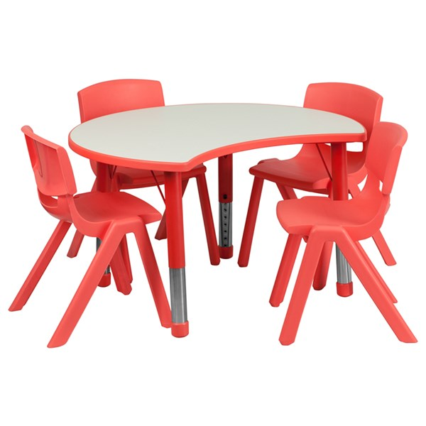 25.125 x 35.5 Red Plastic Activity Table Set w/4 School Stack Chairs FLF-YU-YCY-093-0034-CIR-RED-S2