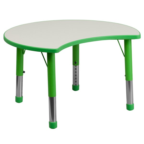 25.125 x 35.5 Cutout Circle Green Plastic Activity Table w/Grey Top FLF-YU-YCY-093-CIR-TBL-GREEN-GG