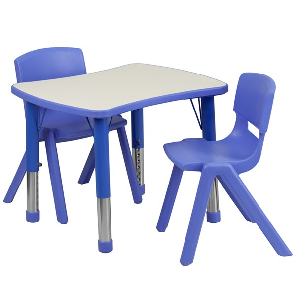 Flash Furniture Plastic 3pc Activity Table Sets with 2 Chairs FLF-YU-YCY-098-0032-RECT-TBL-GG-KTCH-VAR