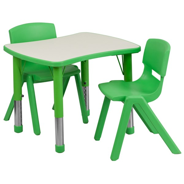 21.875x26.625 Green Plastic 3pc Activity Table Set w/2 School Chairs FLF-YU-YCY-098-0032-RECT-GRN-S1
