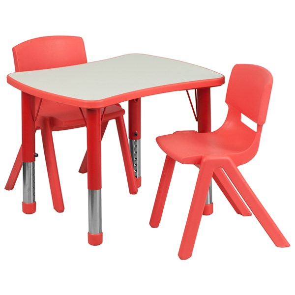 21.875x26.625 Red Plastic 3pc Activity Table Set w/2 School Chairs FLF-YU-YCY-098-0032-RECT-RED-S1