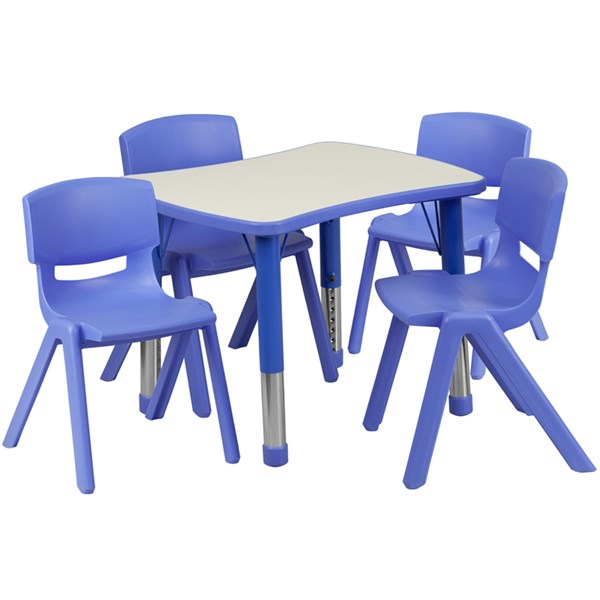 21.875x26.625 Plastic Activity Table Set w/4 School Stack Chairs FLF-YU-YCY-098-0034-RECT-TBL-GG-KTCH-VAR
