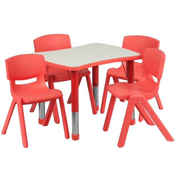 21.875x26.625 Red Plastic 5pc Activity Table Set w/4 School Chairs FLF-YU-YCY-098-0034-RECT-RED-S2