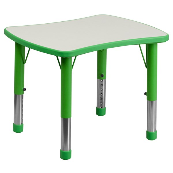 21.875x26.625 Height Adjust Green Plastic Activity Table w/Grey Top FLF-YU-YCY-098-RECT-TBL-GREEN-GG