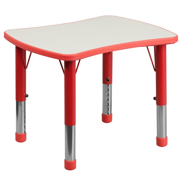 21.875x26.625 Height Adjustable Red Plastic Activity Table w/Grey Top FLF-YU-YCY-098-RECT-TBL-RED-GG