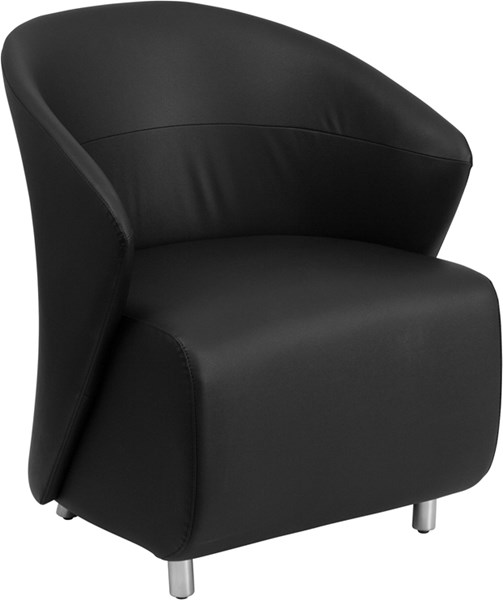 Contemporary Black Leather Stainless Steel Reception Chairs FLF-ZB-GG-CH-VAR
