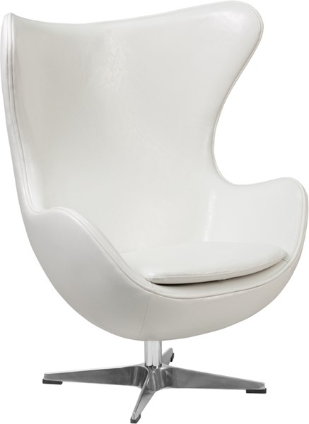 White Leather Egg Chair with Tilt-Lock Mechanism FLF-ZB-10-GG