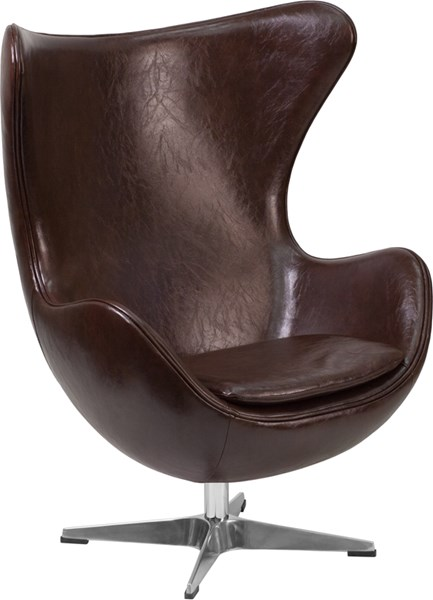 Brown Leather Egg Chair with Tilt-Lock Mechanism FLF-ZB-11-GG
