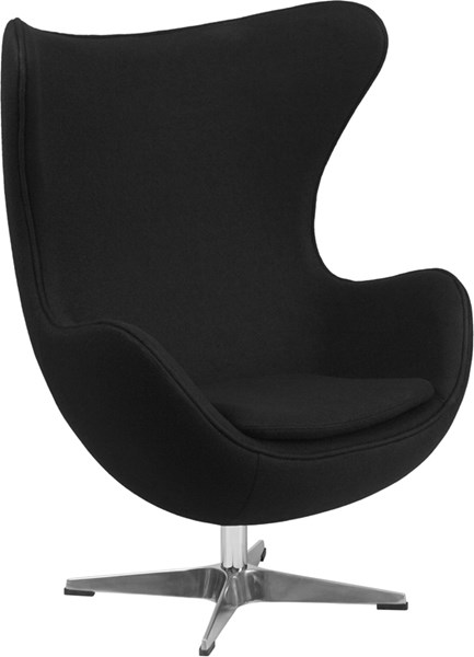 Black Wool Fabric Egg Chair with Tilt-Lock Mechanism FLF-ZB-12-GG