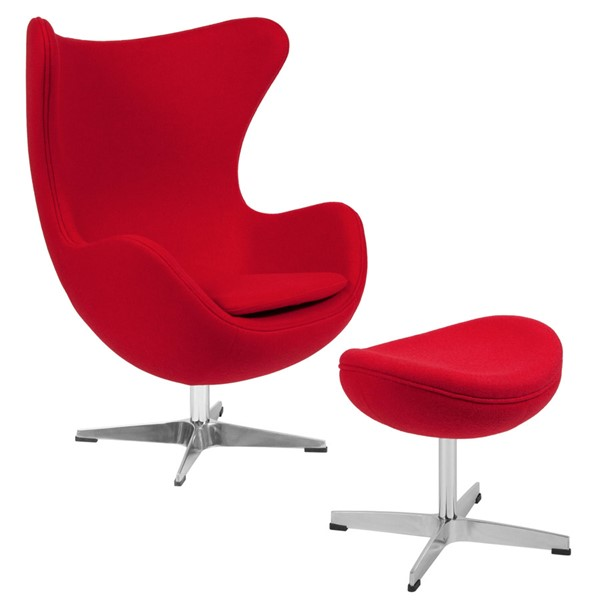 Flash Furniture Red Wool Fabric Egg Chair and Ottoman Set FLF-ZB-14-CH-OT-GG