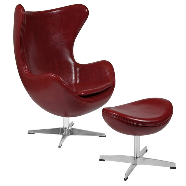Flash Furniture Cordovan Red Leather Egg Chair and Ottoman Set FLF-ZB-15-CH-OT-GG
