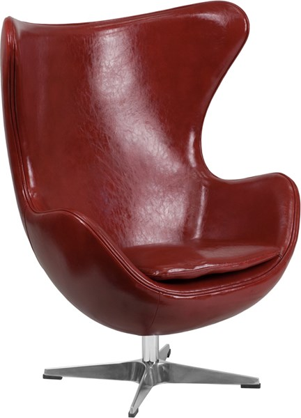 Cordovan Leather Egg Chair with Tilt-Lock Mechanism FLF-ZB-15-GG