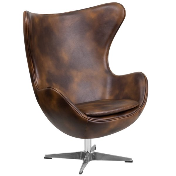 Flash Furniture Bomber Jacket Brown Leather Egg Chair FLF-ZB-21-GG