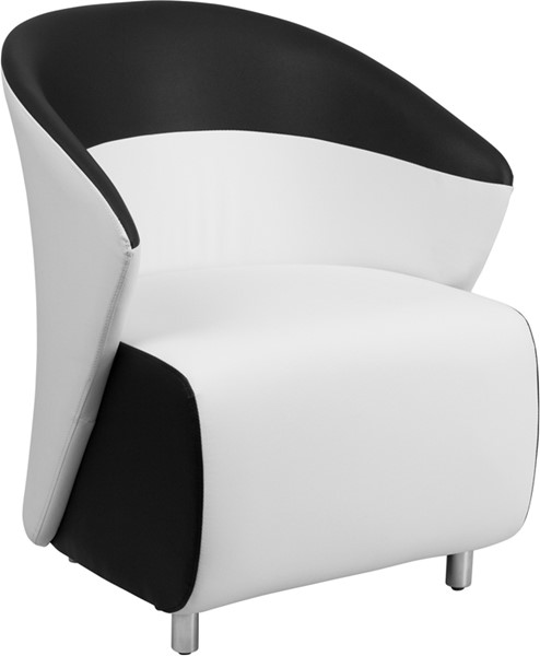 White Leather Reception Chair with Black Detailing FLF-ZB-3-GG