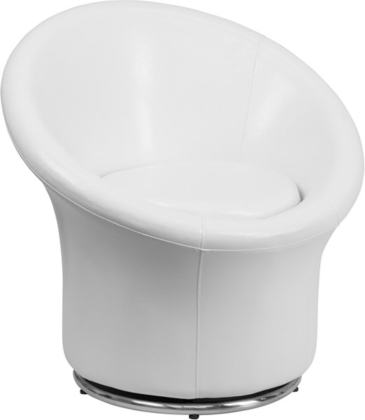 White Leather Stainless Steel Swivel Reception Chair FLF-ZB-3975-WH-GG