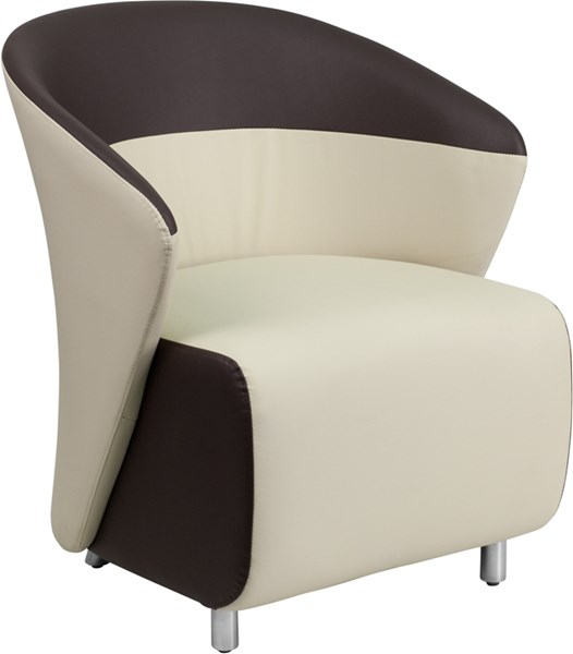 Contemporary Beige White Foam Leather Stainless Steel Reception Chairs FLF-ZB-GG-CH-VAR1