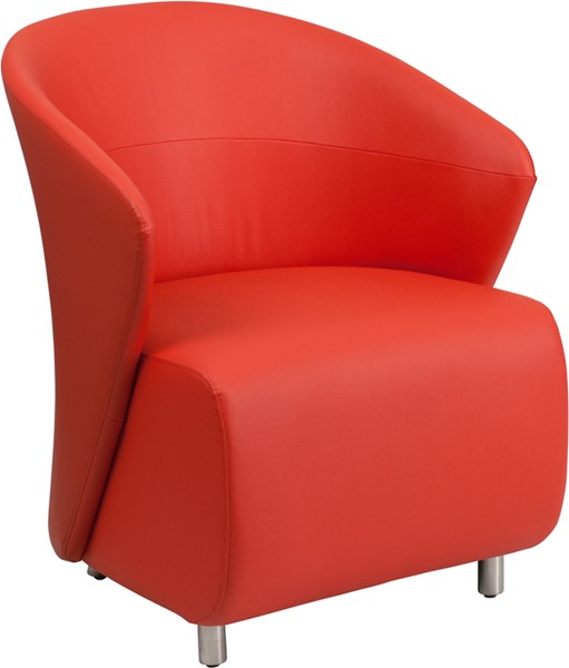 Contemporary Red Leather Stainless Steel Reception Chair FLF-ZB-6-GG