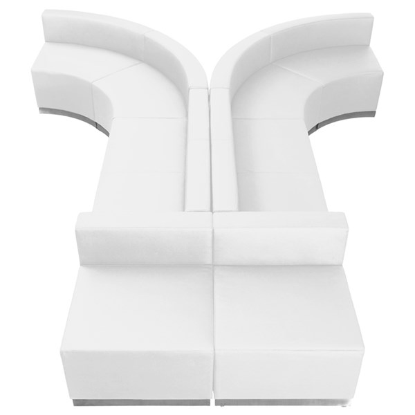 Flash Furniture Hercules Alon White Leather Foam 8pc Reception Configuration FLF-ZB-803-620-WHT-S1