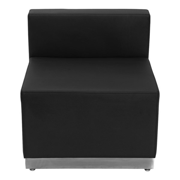 Hercules Alon Series Black Leather Chair with Brushed Steel Base FLF-ZB-803-CHAIR-BK-GG