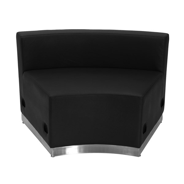 Hercules Alon Series Black Leather Concave Chair w/Brushed Steel Base FLF-ZB-803-INSEAT-BK-GG