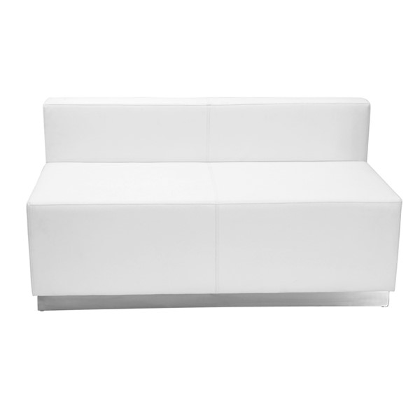 Hercules Alon Series White Leather Loveseat with Brushed Steel Base FLF-ZB-803-LS-WH-GG