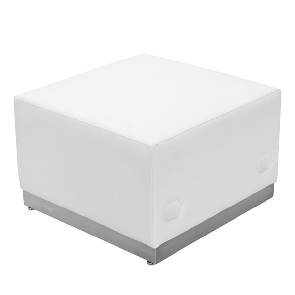 Hercules Alon Series White Leather Ottoman with Brushed Steel Base FLF-ZB-803-OTTOMAN-WH-GG