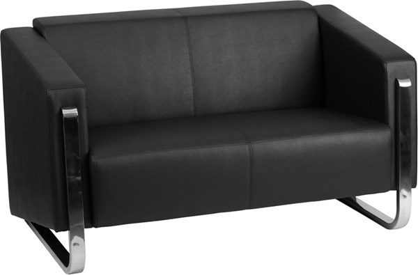 Hercules Gallant Contemporary Black Leather Steel Frame Loveseat FLF-ZB-8803-2-LS-BK-GG