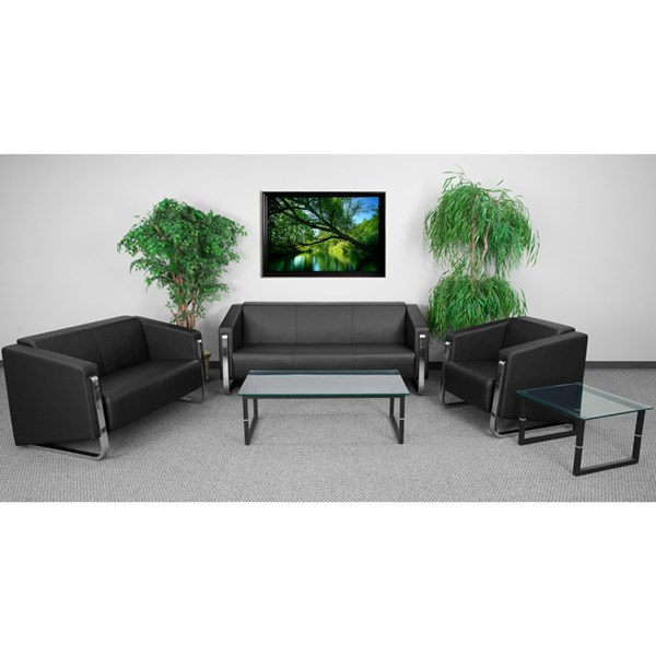 Hercules Gallant Contemporary Black Leather Steel Living Room Set FLF-ZB-8803-BK-GG-LR