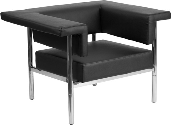 Hercules Fusion Series Contemporary Black Leather Steel Frame Chair FLF-ZB-8811-1-CHAIR-BK-GG