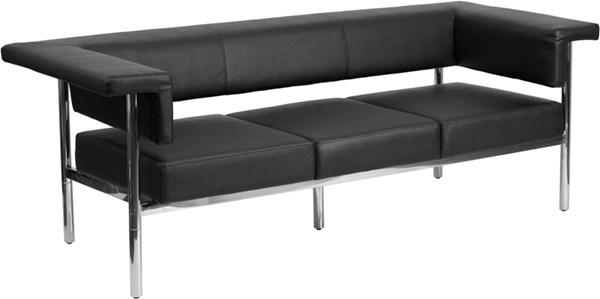 Hercules Fusion Series Contemporary Black Leather Steel Frame Sofa FLF-ZB-8811-3-SOFA-BK-GG