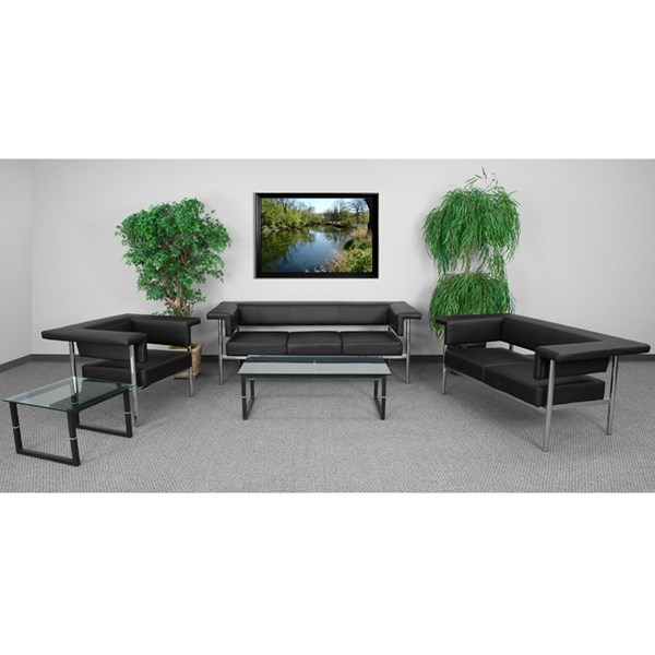 Hercules Fusion Series Contemporary Black Leather Living Room Set FLF-ZB-8811-BK-GG-LR