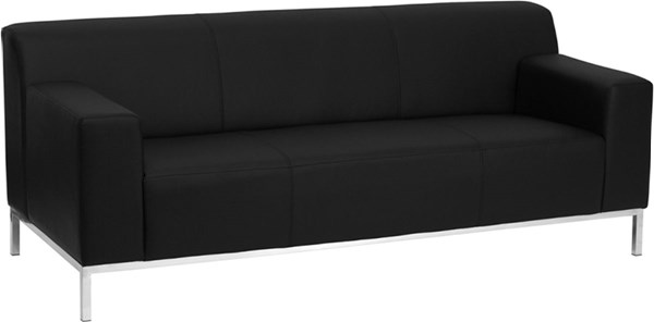 Hercules Definity Contemporary Black Foam Leather Stainless Steel Sofa FLF-ZB-DEFINITY-8009-SOFA-BK-GG