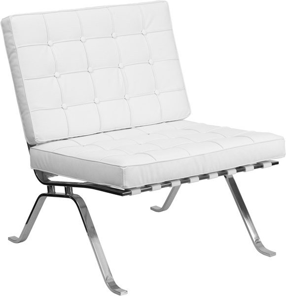 Hercules Flash Series White Leather Lounge Chair with Curved Legs FLF-ZB-FLASH-801-CHAIR-WHITE-GG