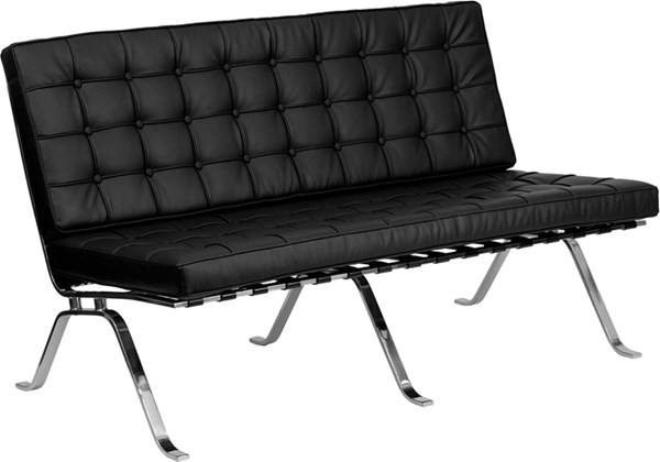 Hercules Flash Series Black Leather Loveseat with Curved Legs FLF-ZB-FLASH-801-LS-BK-GG