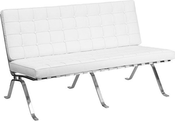 Hercules Flash Series White Leather Loveseat with Curved Legs FLF-ZB-FLASH-801-LS-WHITE-GG