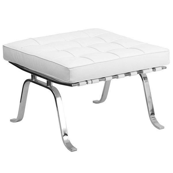 Hercules Flash Series White Leather Ottoman FLF-ZB-FLASH-801-OTTO-WHITE-GG