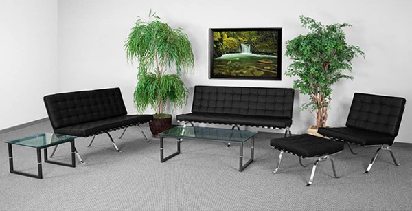 Hercules Flash Series Leather Stainless Steel Living Room Set FLF-ZB-FLASH-801-SET-GG