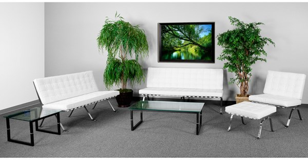 Hercules Flash Series White Leather 4pc Living Room Set FLF-ZB-FLASH-801-SET-WHITE-GG