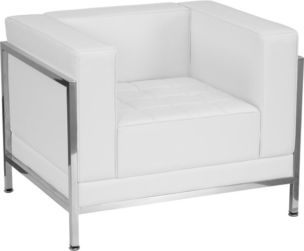Hercules Imagination Contemporary White Leather Encasing Frame Chair FLF-ZB-IMAG-CHAIR-WH-GG