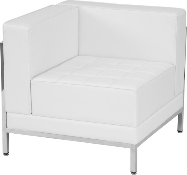 Hercules Imagination White Leather Encasing Frame Left Corner Chair FLF-ZB-IMAG-LEFT-CORNER-WH-GG