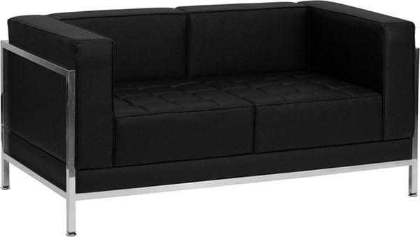 Hercules Imagination Black Leather Encasing Frame Loveseat FLF-ZB-IMAG-LS-GG