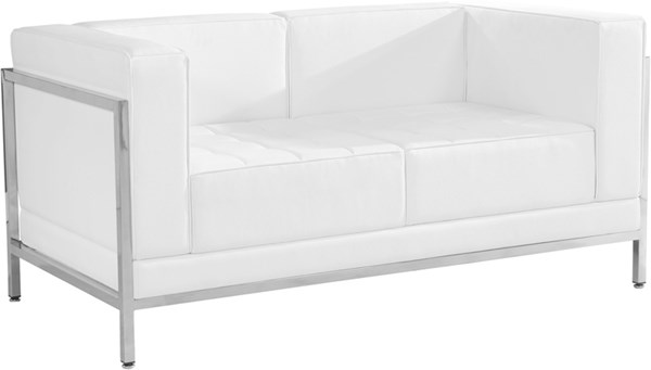 Hercules Imagination White Leather Encasing Frame Loveseat FLF-ZB-IMAG-LS-WH-GG