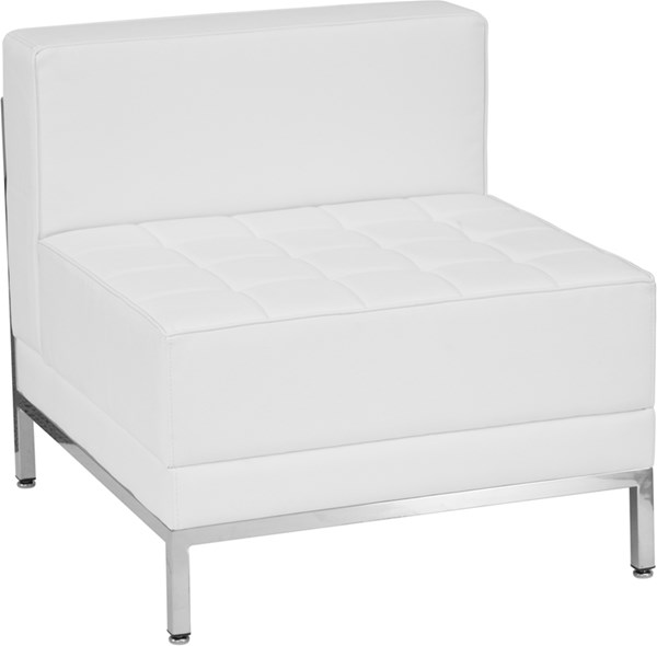 Hercules Imagination Series Contemporary White Leather Middle Chair FLF-ZB-IMAG-MIDDLE-WH-GG