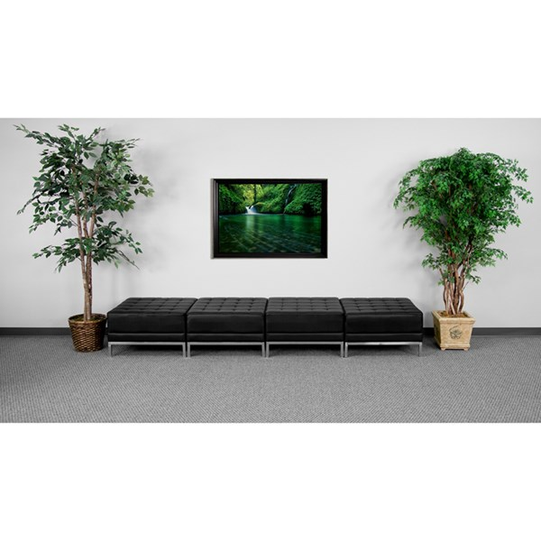 Hercules Imagination Series Black Leather Four Seat Bench FLF-ZB-IMAG-OTTO-4-GG