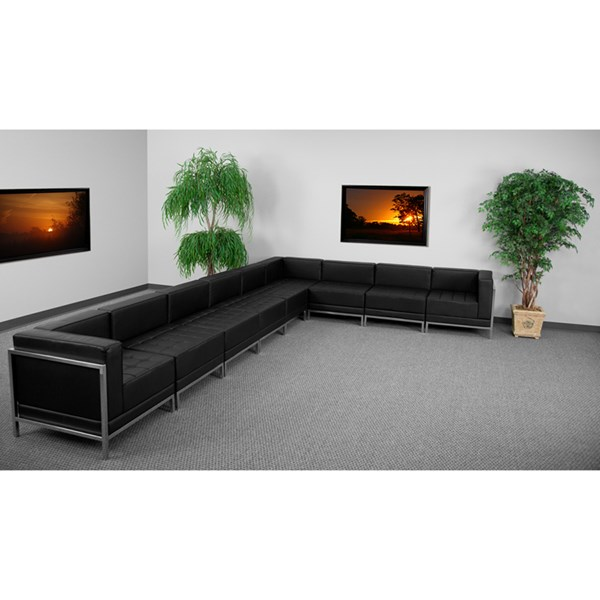 Hercules Imagination Black Leather Steel 9pc Sectional Configuration FLF-ZB-IMAG-BLK-SEC4